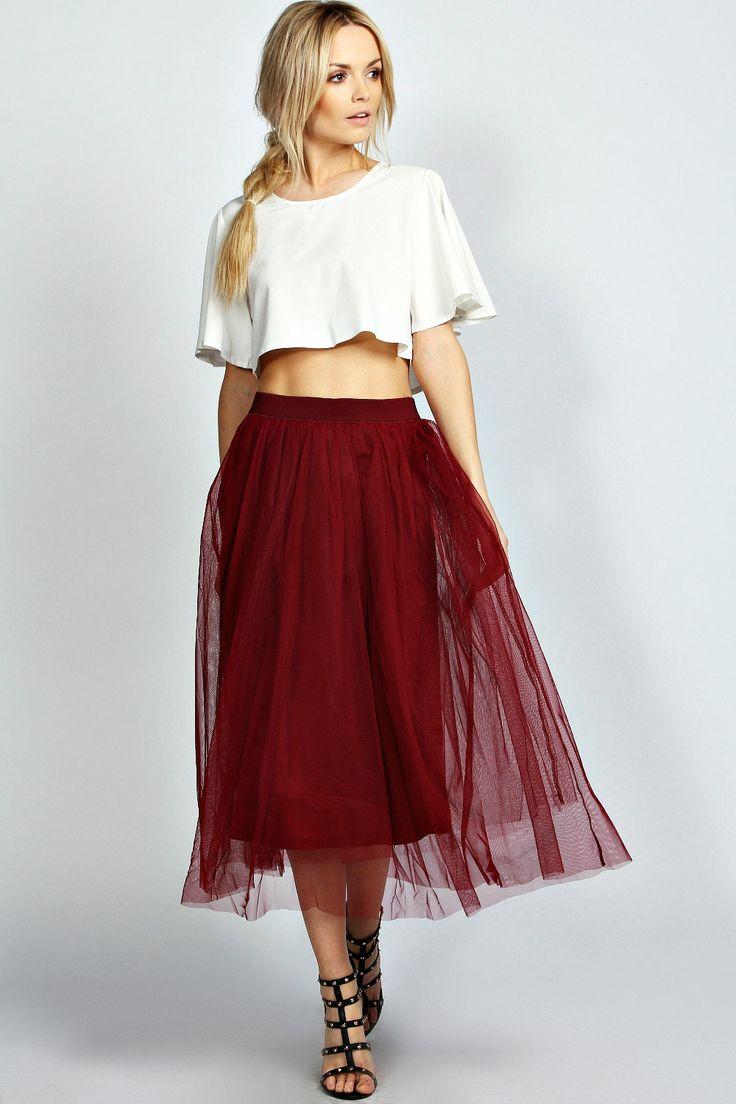 { Berry A Line Midi Skirt }
