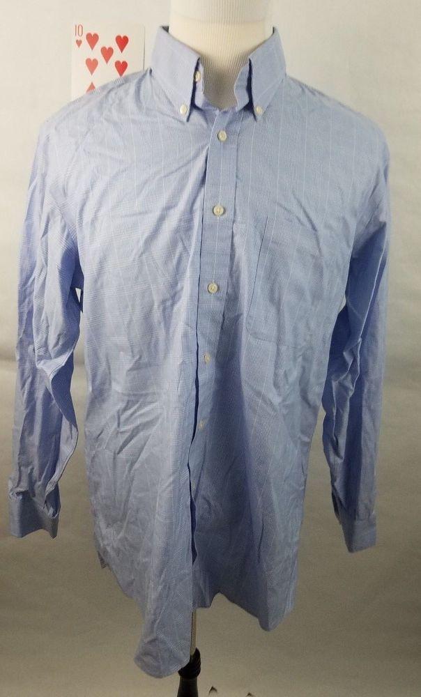 Kirkland Signature Mens 16.5 35 Dress Shirt Blue White Plaid Checked Non Iron  #KirklandSignature