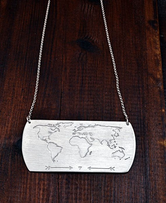 Handmade Necklace With World Map Engraving / Travel Necklace /
