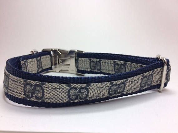 Gucci Dog Collar Upcycled Recycled Repurposed Metal clasp