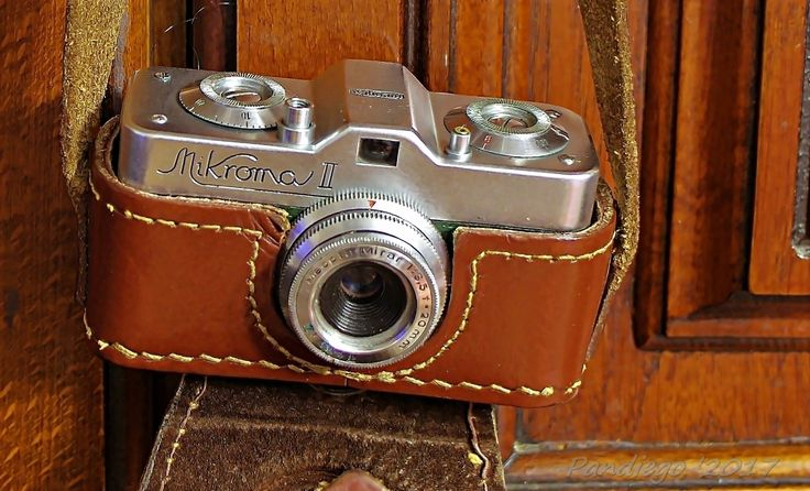 Meopta Mikroma II - 16mm film, subminiature camera(green leather covering) - 1959