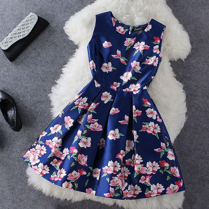Plum printing blue sleeveless dress FD715H