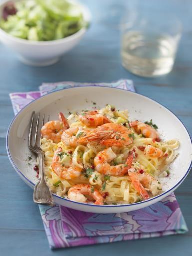 Crevettes à la crème et aux fettucine : Recette de Crevettes à la crème et aux fettucine - Marmiton