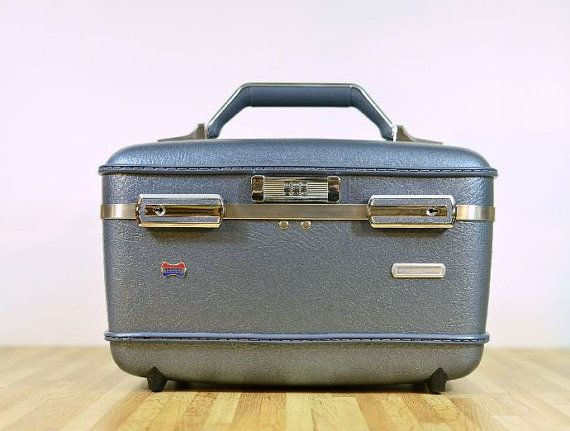 Vintage American Tourister Train Case Travel Makeup Suitcase Slate Blue Traveling Tourist Hardshell You are viewing retro train case luggage