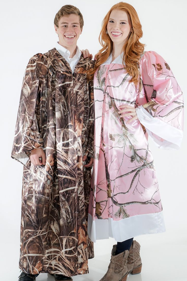 Graduation gowns shown in without the trim accent or ap pink with white accent trim made in the usa by camo formal