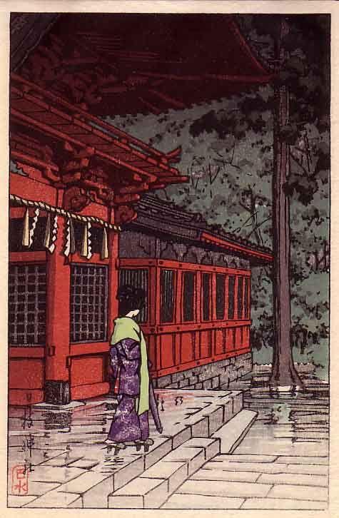 Kawase Hasui (1883-1957). Hiejinja Shrine in Rain. Bookplate from the book Shinto and its Architecture by Akiyama Aisaburo. #Hasui #Woodblock