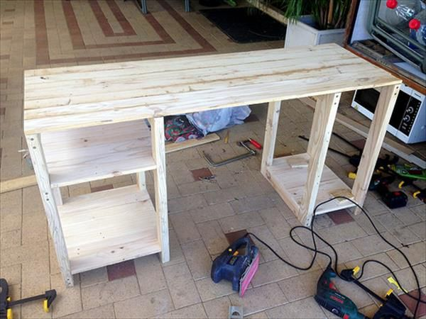 DIY Computer Desk Out of Pallets | 101 Pallets                                                                                                                                                                                 More