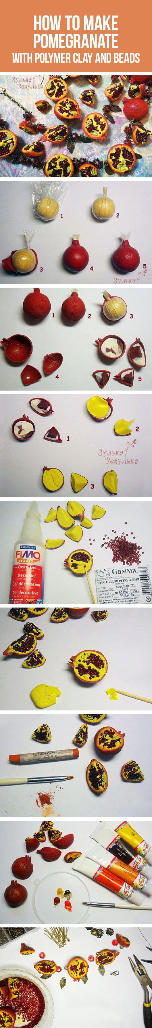 "How to make pomegranate with polymer clay and beads /  ""Гранатовое"" украшение из полимерной глины и бисера"