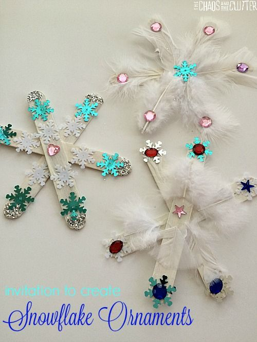 Beautiful snowflake ornaments for you to make at home or in school! By The Chaos and The clutter - read our Winter Craft Activities blog post on TeacherBoards Community for more great ideas! https://www.teacherboards.co.uk/community/winter-craft-activities/