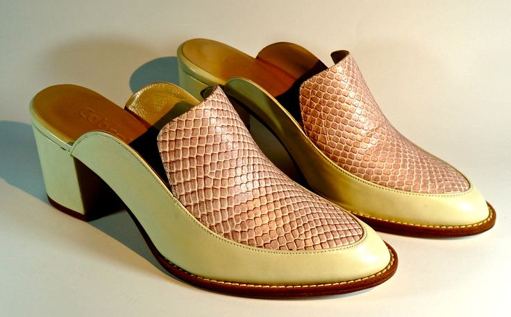 Hand-Made Leather Footwear. Lamb's Leather with snake scale Leather. LM-001