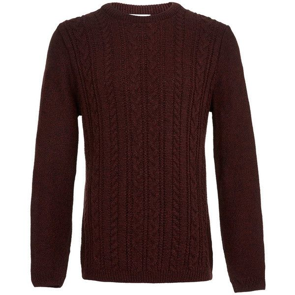 TOPMAN Mix Knit Cable Jumper (135 BRL) ❤ liked on Polyvore featuring men's fashion, men's clothing, men's sweaters, men, guy's, tops, red, mens cable knit jumper, mens cable sweater and mens jumpers