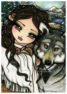 """First Snow"" Native American girl and her Wolf friend! Original Artwork watercolor pencil & Ink by Hannah Lynn, HannahLynn.com <3"