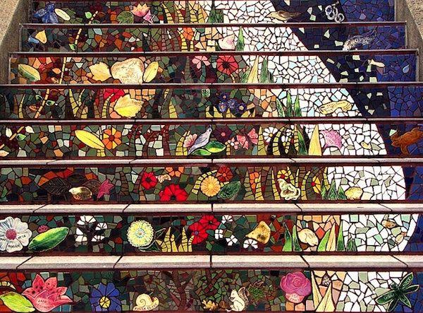 San Francisco's Secret Mosaic Staircase - My Modern Metropolis: San Francisco California, Mosaic Stairs, Mosaics Stairs, Basements Stairs, Moraga Step, 16Th Ave, Mosaics Step, Mosaics Staircases, Stairways