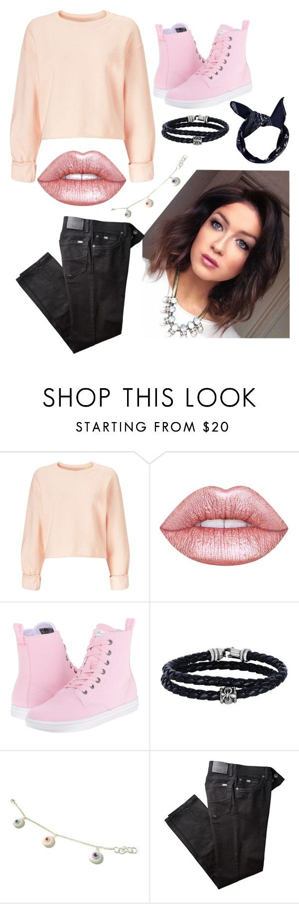 """""""Light Pink and Black"""" by milkyspill ❤ liked on Polyvore featuring Miss Selfridge, Lime Crime, Dr. Martens, Phillip Gavriel, BRAX and Boohoo"""