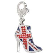 Swarovski unionjack boots charm perfect for every fashionista