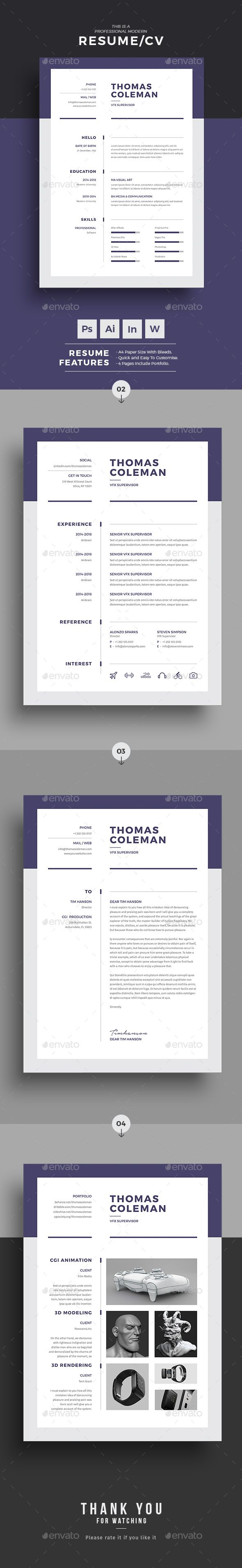 4 Page Resume Template for C Class superstars. If the usual 2 page resume template is not working for you then this template is just for you. This even has a Portfolio page with matching cover letter format in word. Fully editable in Microsoft word. Print ready, easy to customize with free customization tutorials. Ideal for Creative People. Instant Download.