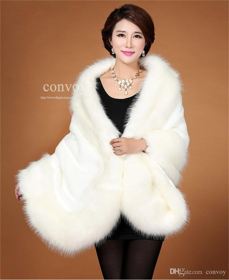 2015 Winter Faux Fox Fur Bridal Cape Shawl White/Black/Wine Red Shrug Stole Shawl Bolero Jacket Coat For Winter Wedding Bride WT37 Online with $26.8/Piece on Convoy's Store | DHgate.com