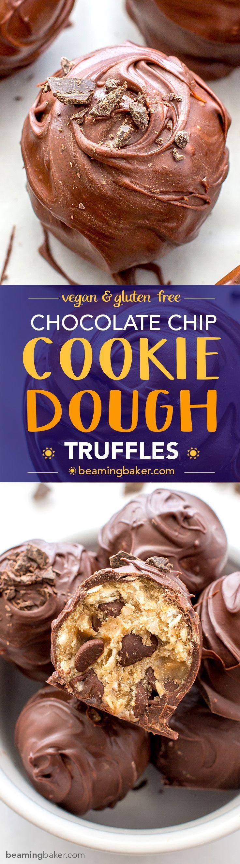 Chocolate Chip Cookie Dough Truffles (V+GF): Decadent chocolate chip cookie dough bites wrapped in a velvety blanket of rich, dark, indulgent chocolate. #Vegan #GlutenFree   BeamingBaker.com