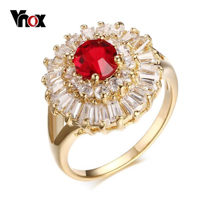 Vnox Красный Камень женские Обручальные Кольца Романтические Обручальные Кольца для Женщин Позолоченный