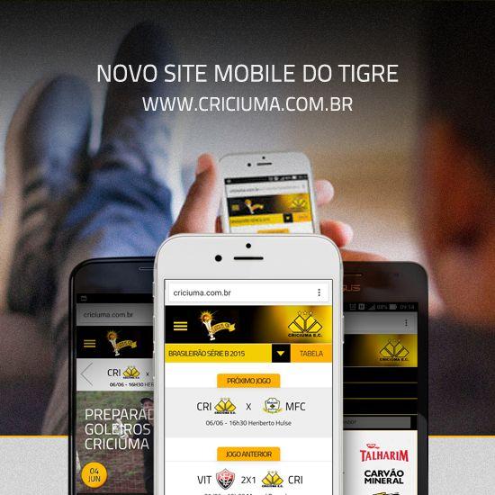 Novo site #mobile do Criciúma Esporte Clube acabou de sair. Acesse www.criciuma.com.br e tenha o Tigre em suas mãos.