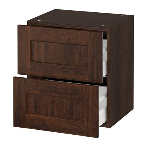 """IKEA - SEKTION, Wall cabinet with 2 drawers, wood effect brown, Edserum wood effect brown, 18x15x20 """", Ma, , MAXIMERA drawer is a smooth-running, full-extension drawer with built-in dampers so that it closes slowly, softly, and quietly.Sturdy frame construction, 3/4"""" thick."""