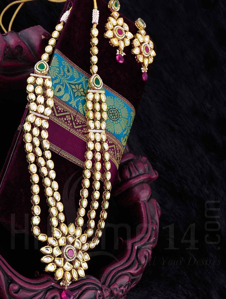 Heavy Necklace Set with Kundan Stones