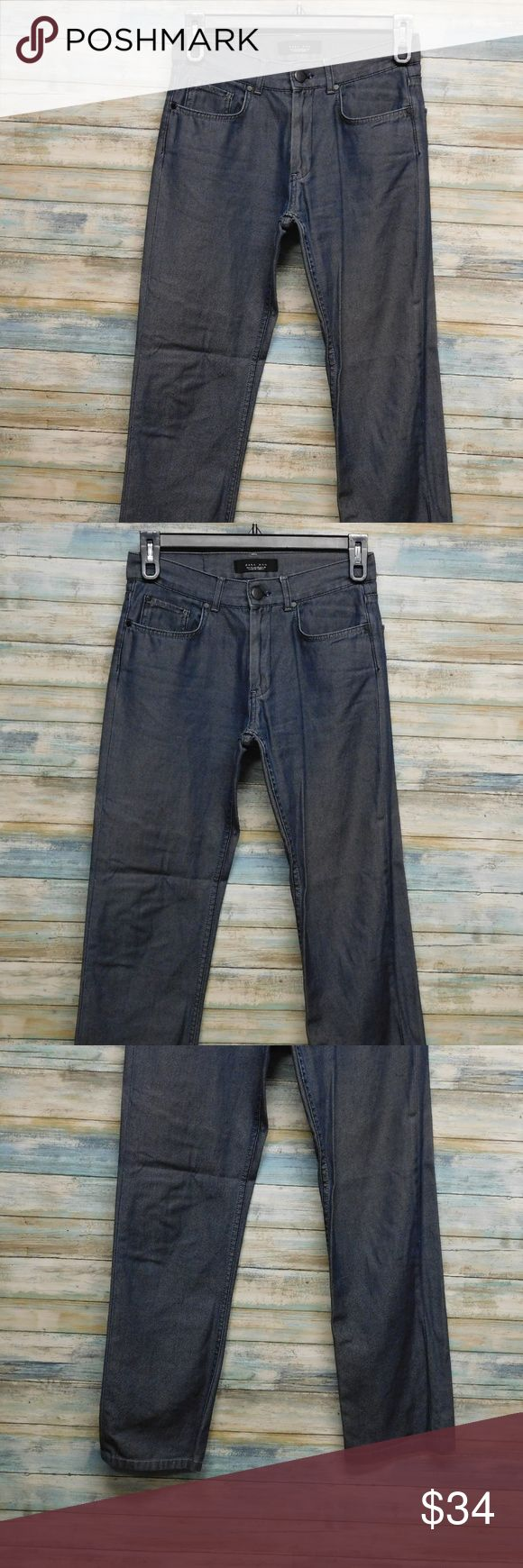 "Zara Man Slim Straight Raw Denim jeans 30 x 29 Zara Man Slim Straight Men's Raw Denim jeans 30 x 29 color: medium blue raw size 30 x 29"" inseam       actual waist measures 31"" RISE 10""   LEG OPENING LAYING FLAT 7.5""  100% cotton   IN VERY GOOD CONDITION Zara Man Jeans Slim Straight"