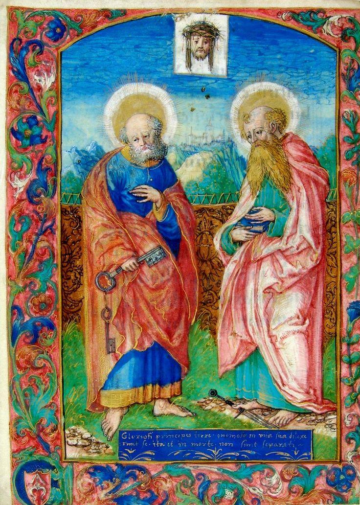 Saint Peter and Saint Paul, a leaf from the Prayer Book of Krzysztof Szydłowiecki by Stanisław Samostrzelnik, 1524 (PD-art/old), Biblioteca Ambrosiana