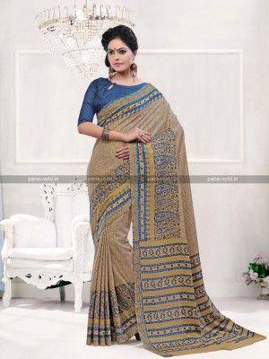 Beige N Blue Pashmina Classy Casual Saree