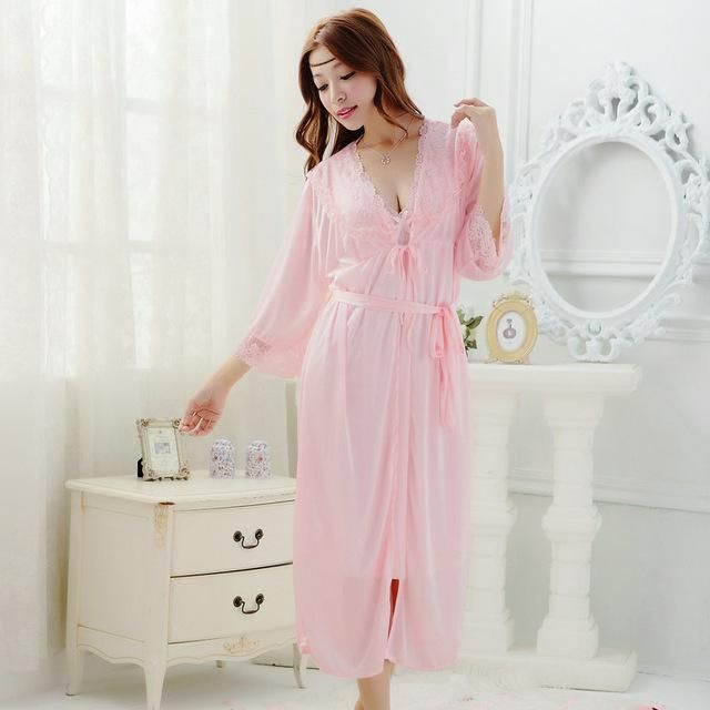 Free shipping women lace Large size long nightdress 6 colors plus size robe sets bathrobe Sleepwear nightgown 2016 Spring Y423