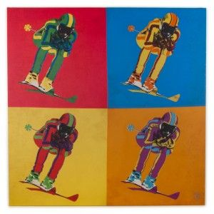 TABLEAU POPSKIEUR 100 X 100 - Idéal pour habiller les murs du salon ou du bureau de votre chalet, de votre appartement ou de votre maison. Pour les amoureux des années 70...  #ski #popart #warhol