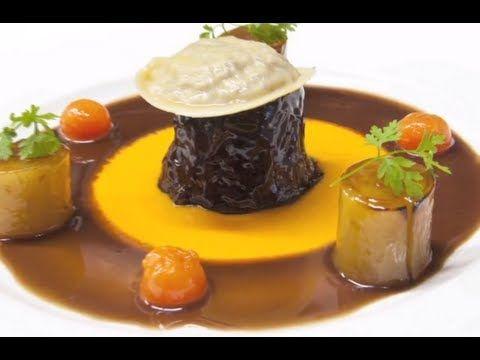 Michelin Starred Chef Martin Wishart prepares and cooks shin of Scotch beef, wild mushroom ravioli