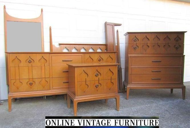 Rare 1960s Bedroom Set Dresser Credenza Chest Headboard