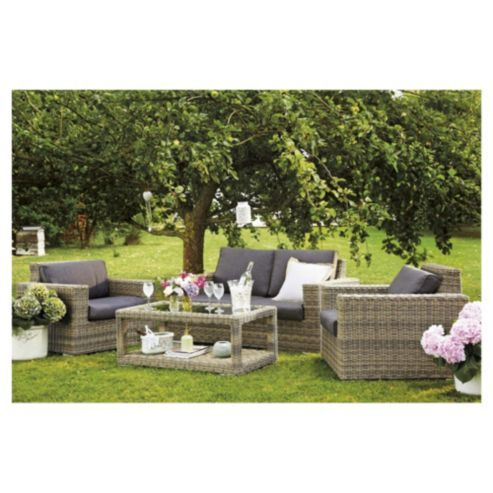 oxford 4 piece rattan garden furniture set