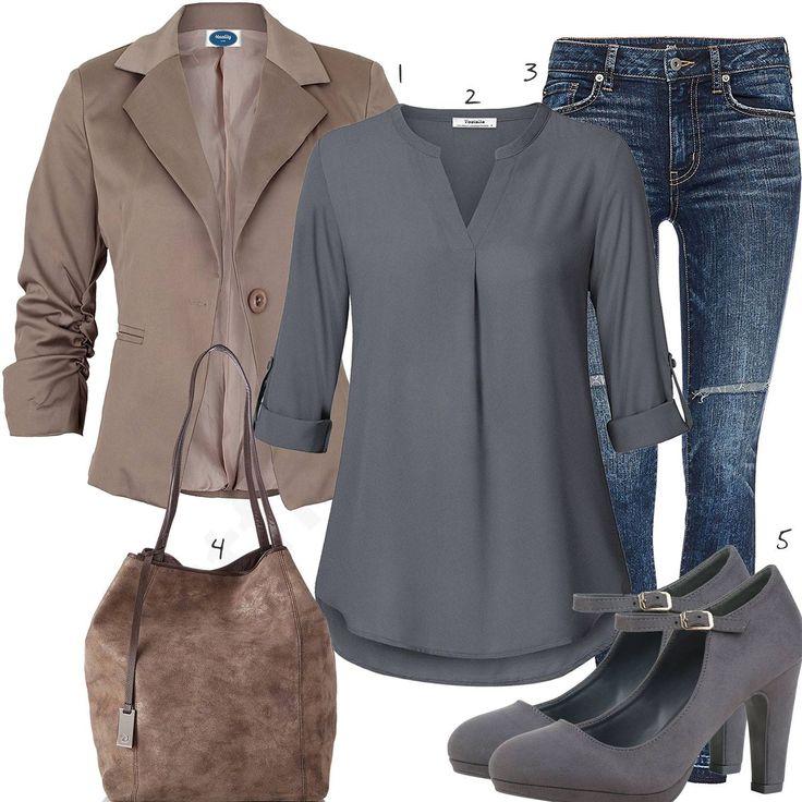 Elegantes Damenoutfit mit Bluse, Blazer und Jeans (w1046) #blazer #bluse #pumps #jeans #tasche #outfit #style #frau #damen #mode #fashion #womensfashion #womensstyle #womenswear #frauenmode #damenmode #inspiration #frauenoutfit #damenoutfit