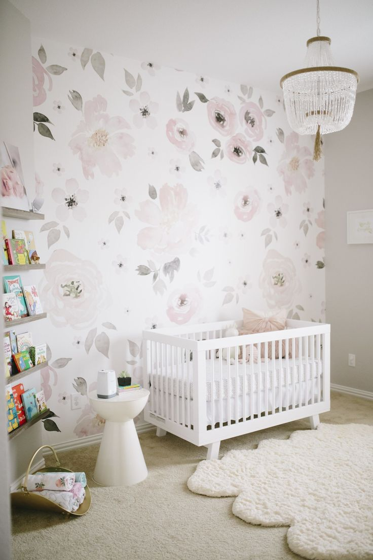 Modern interior wallpaper swatch - Floral Wallpaper In Pink And Gray Nursery So Glam
