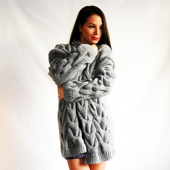 Grey over-sized handmade cable-knitted cardigan coat