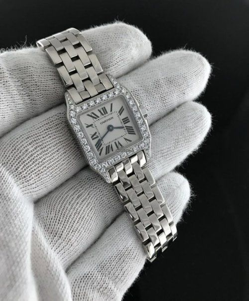 A watch for the Special Lady in your life. Cartier Santos Demoiselle Ladies Watch Midsize 18k White Gold Diamond