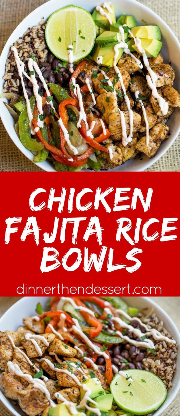 Easy Chicken Fajita Rice Bowls are healthy and quick to make!    MixInMinute AD…