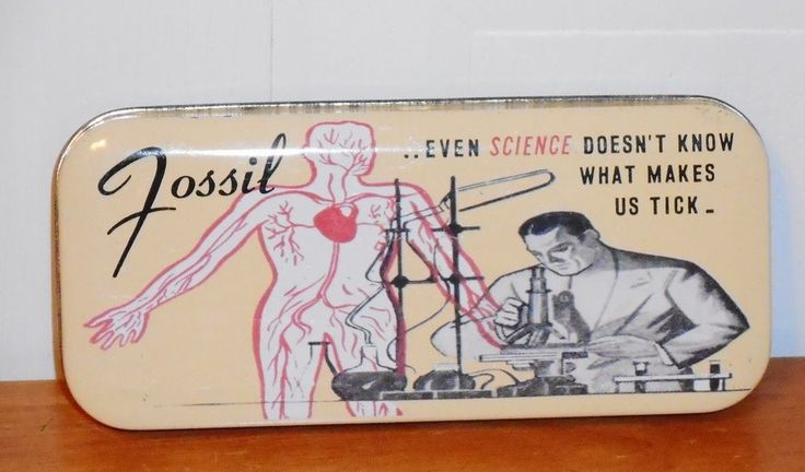 1991 Even Science Fossil Watches Metal Tin Watch Box NO WATCH  #Fossil