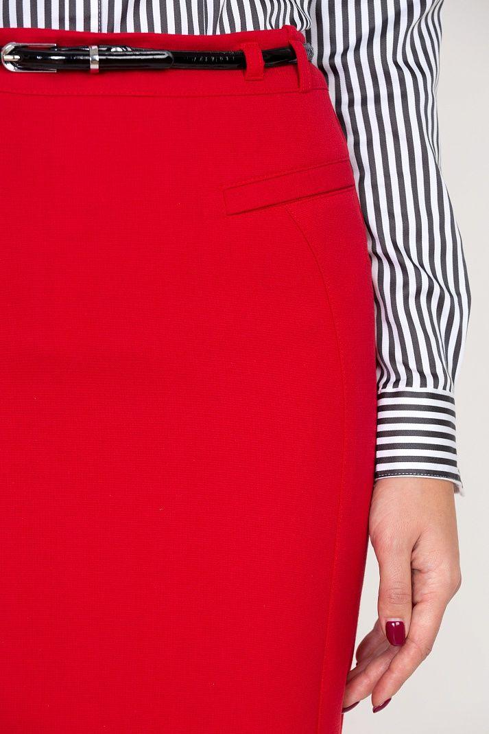 Красная юбка для учёбы и работы Emka Fashion 559-rostislava - Malinka-fashion.ru