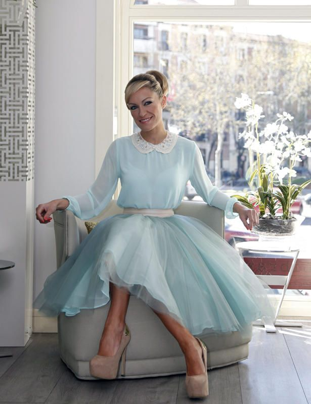 Luj�n Arg�elles wearing a Bgo & Me Aqua-green tulle skirt with a ...