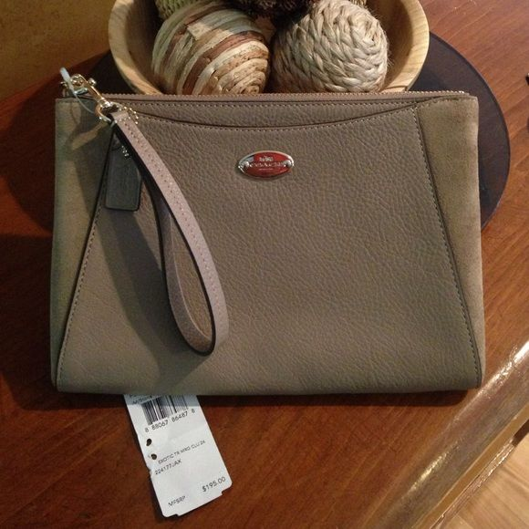 SaleCoach Clutch, Color Stone Gorgeous, roomy clutch/purse! Side patches of soft suede. Outside flap pocket. Gold tone hardware. Interior flap pocket. Just stunning! For dressed up events or casual wear. Comes packaged in a Coach box. Coach Bags Clutches & Wristlets
