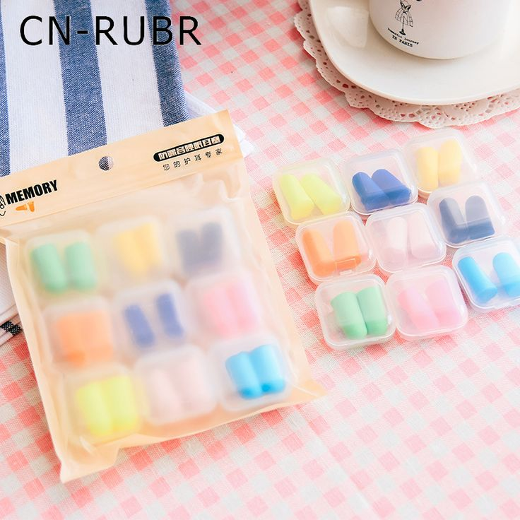 CN-RUBR 9Pairs/Set with Single Box Ear Plugs Colorful Soft Foam Travel Sleep Noise Prevention Earplugs for Travel Sleeping Tools #Affiliate