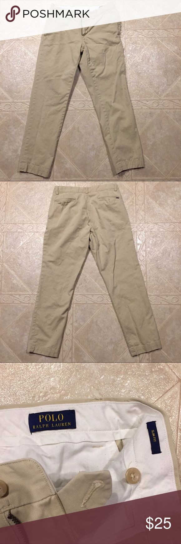 Polo Ralph Lauren slim fit Khaki Chino pant 30x30 Men's slim fit khaki chino pants from Polo Ralph Lauren.  Great condition, other than a few marks on the right back pocket. Polo by Ralph Lauren Pants Chinos & Khakis