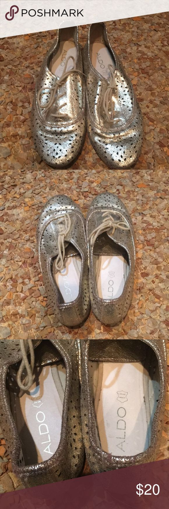 Aldo metallic gold lace oxfords 10 These have been worn once!  Also Sz 10 Metallic gold Lace oxfords Cut out design Great piece to add to your shoe collection... wear year round! Flat... for comfort! Aldo Shoes Flats & Loafers