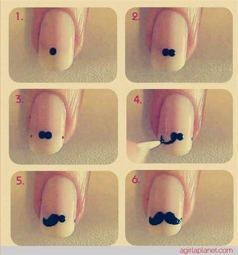 How to draw a cute moustache on your nails -  Movember!