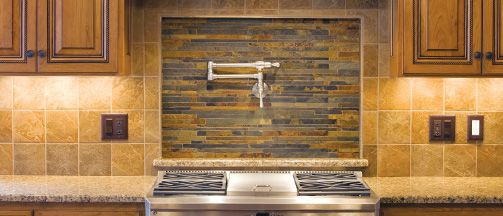 Ames Tile & Stone  Mixed sizes of linear slate and quartzite planks can amplify your design with a unique splash of layered stone.  USAGE:Interior & Exterior* VARIATION:Variations in colour, shade and texture are inherent characteristics in the beauty of natural stone.