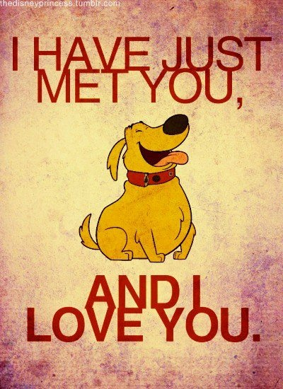 """""""I have just met you, and I love you."""" Doug (from UP)"""