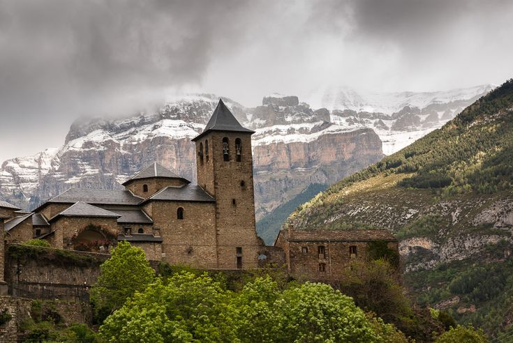 Torla, in the province of Huesca, Aragón, Spain. Torla is a gateway to the Ordesa and Monte Perdido National Park in The Pyrenees.